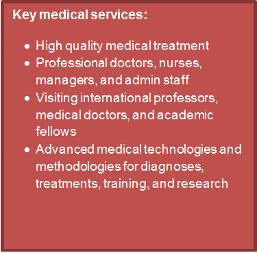 Text Box: Key medical services: •	High quality medical treatment•	Professional doctors, nurses, managers, and admin staff•	Visiting international professors, medical doctors, and academic fellows•	Advanced medical technologies and methodologies for diagnoses, treatments, training, and research